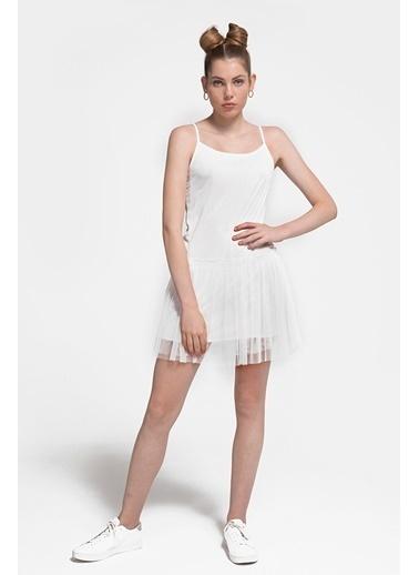 Loft İnce Askılı Pileli Mini Elbise Ekru